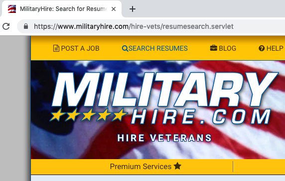 search for veteran resumes